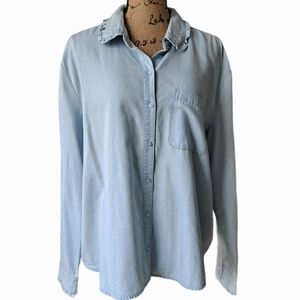a.n.a Chambray Shirt Blue Size XL Ruffle Detail